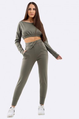 Khaki Crop Top Lounge Set