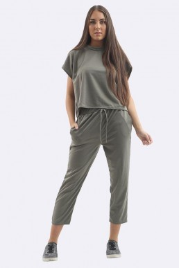 Khaki Two Piece Lounge Set