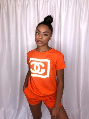 Orange Gucci Inspired Short Set