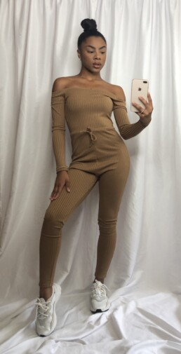 camel ribbed long sleeve jumpsuit